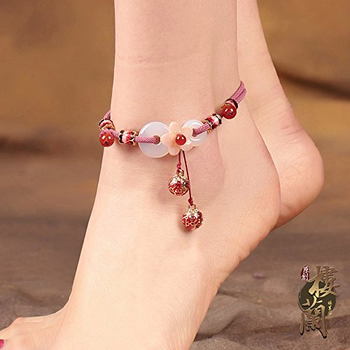 (TKHNE Cloisonne red bell Foot Chain anklet ankle chain archaic sound sexy enough chain Chinese wind Ping buckle retro women girls ornaments )