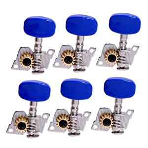 Amazon.com: 1set 6L Machine Heads/tuning Pegs Silver Plate Blue Button