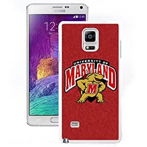 Popular And Durable Designed Case With NCAA Atlantic Coast Conference ACC Footballl Maryland Terrapins 5 Protective Cell Phone Hardshell Cover Case For Samsung Galaxy Note 4 N910A N910T N910P N910V N910R4 Phone Case White