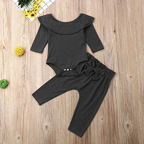 LIXIUQING Kleinkind Kind Mädchen gekräuselte Bodysuit Bodysuit Top einfarbige Schleife Hosen Hose Herbst Baumwolle Langarm Kleidung Kleidungsanzug
