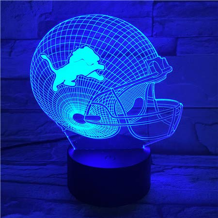 - Sykdybz American Football Team Detroit Lions Helmet USB 3D Led Night Light Lampara Boys Kids Fans Gift Desk Lamp Bedroom Nightlight