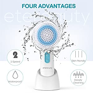 ETEREAUTY Facial Brush Waterproof Body Facial Cleansing Brush with 5 Brush Heads for Exfoliating Removing Blackhead