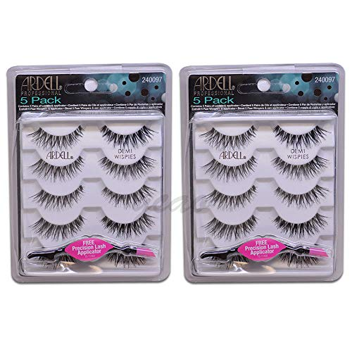 (10 Pairs) Ardell Lashes 5 Pairs/Pack Demi Wispies - FREE APPLICATOR
