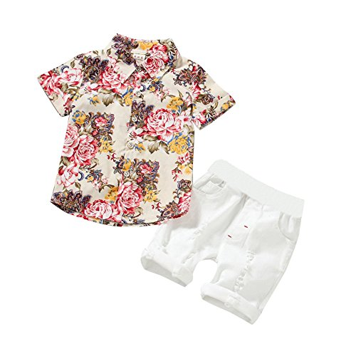 - 2019 New G-Real 2PCS Toddler Baby Boys Flowers Print T-Shirt Tops+ White Shorts Outfits Clothes Sets