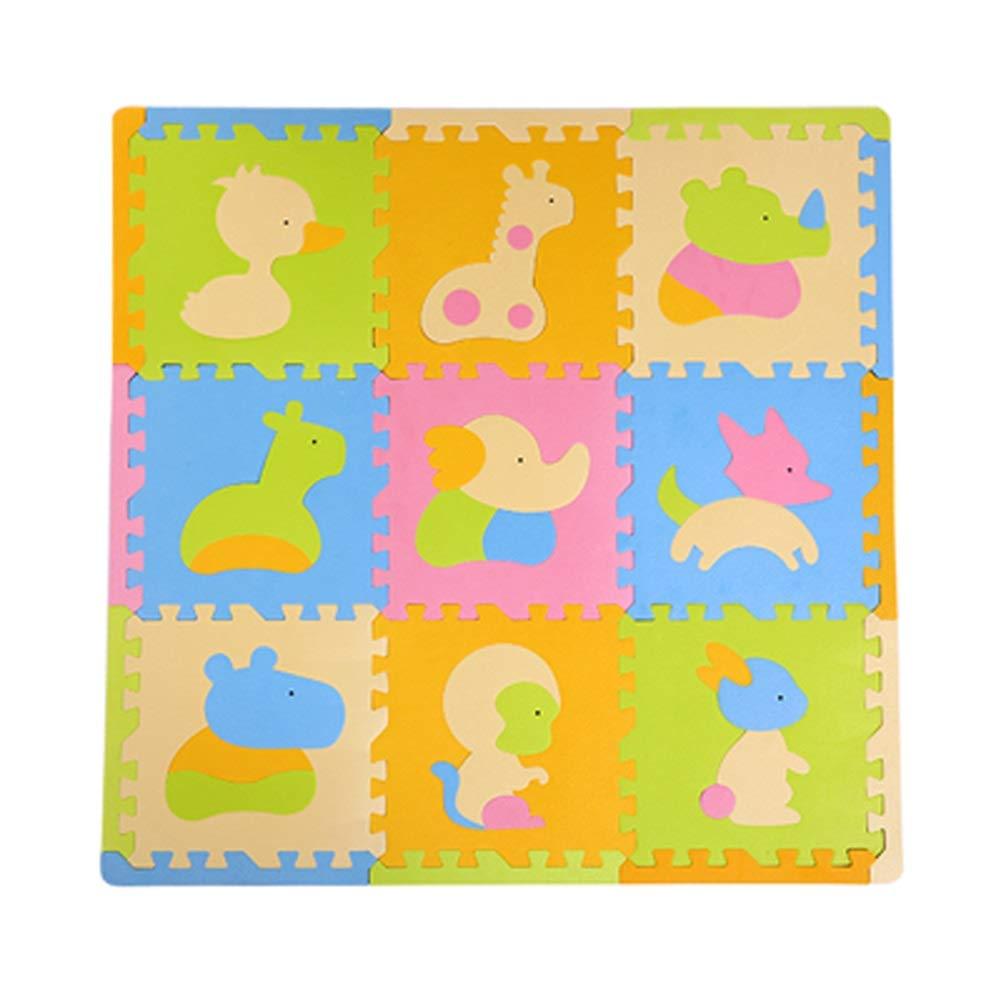 A  RMJAI 9pcs Tapis De Verrouillage Enfants Puzzle Puzzle Bloquant La Planche avec des Bords AmuseHommest Récréation Enfants Tapis De Jeu Bébé Aire De Jeux Dessin Animé Animal Fruit11.8x0.47in (30x1.3cm)