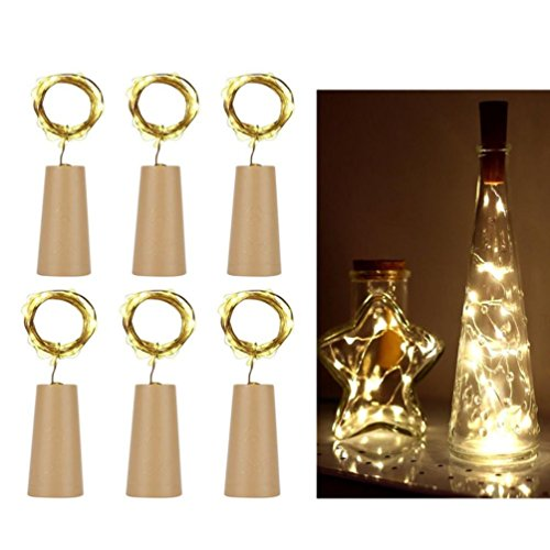 JDgoods_Cork LED Copper Light, 6Pcs Cork Shaped LED Night Light Starry Light Wine Bottle Lamp For Party Christmas Halloween Home Garden Wall Decorations -
