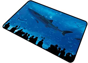 shirlyhome Doormat Outdoor Shark for Dirt for Mud for Step Japanese Aquarium Park with People Silhouettes Watching Underwater Life Hobby Image Rectangle 15 x 24 inch Blue Black