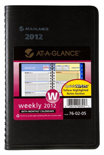 AT-A-GLANCE QuickNotes, Recycled Weekly/Monthly Appointment Book, 5 x 8 Inches, Black, 2012 (A-glance Quicknotes Recycled Weekly)