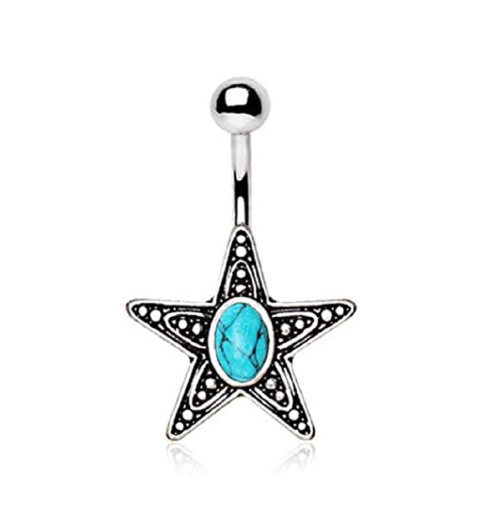 Sold by Piece Freedom Fashion 316L Surgical Steel Antique Star with Turquoise Stone Inlay Navel Ring
