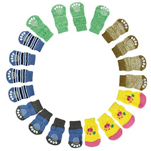 4pcs Pet Soft Cotton Anti-slip Knit Weave Warm Sock (Red) (XL) - 3
