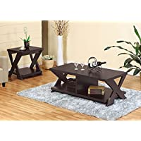 13696-X2 Smart Home Red Cocoa Coffee Table and End Table Set