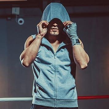Los hombres ejecutan camisas con sombrero y cremallera seca rápida hombres sin mangas Sportswear transpirable elástico alto… 6SReNB