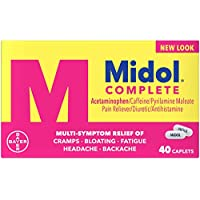 Midol Complete Menstrual Pain Relief Caplets with Acetaminophen for Menstrual Symptom Relief - 40 Count