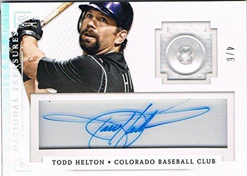 (2014 Panini TODD HELTON National Treasures Treasure Button Autograph # 4/6 - Panini Certified - MLB Autographed Baseball Cards)