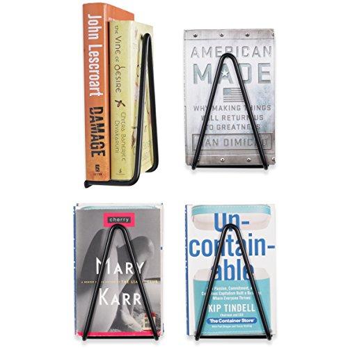 (Wallniture - Vango Set of 4 Wrought Iron Wall Mount Book Display Storage - Decorative Triangle Brackets Black (4))
