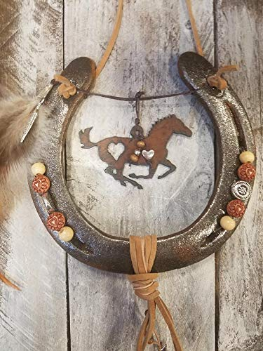 Horseshoe Art Equestrian Gifts Horseshoe Decor Rustic Metal Horse Decor Horse Lover Gift Cowgirl Gifts Decorated Horseshoe