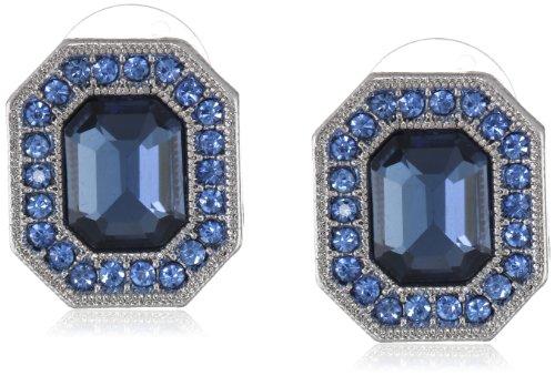 Signature 1928 Silver-Tone Sapphire Blue Octagon Button Stud (Blue Button Earring)