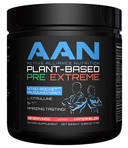 New !! AAN Plant-Based Pre-Workout Extreme – Energy & Nitric Oxide Booster – Vegan Friendly, Citrulline, Nitro Rocket, S7, Stevia, Monk Fruit, Natural Coffee Bean 40 Servings (Watermelon Tea)