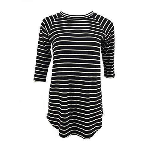 Black and White Striped Shirt Women 3/4 Sleeve Tunic Tops (Medium, Black White Stripe)