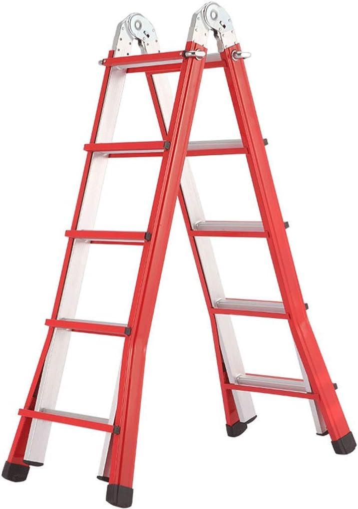 Escalera Telescópica Multifuncional De Aleación De Aluminio Roja Escalera Plegable Para El Hogar Escalera De Ingeniería De Engrosamiento Portátil (Size : 5 steps): Amazon.es: Bricolaje y herramientas