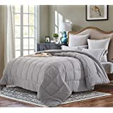Evolive All Season Pre Washed Soft Microfiber White Goose Down Alternative Comforter (Grey, Full/Queen)