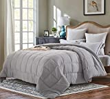 Alternative Comforter - EVOLIVE All Season Pre Washed Soft Microfiber White Goose Down Alternative Comforter (Grey, Full/Queen)