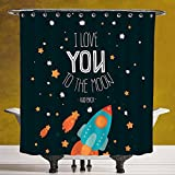 Waterproof Shower Curtain 3.0 [I Love You,Rocket on the Road of Space Adventurist Cosmic Couples Happy Birthday Theme Decorative,Multicolor] Waterproof and Mildewproof Polyester Fabric Bath Curtain De