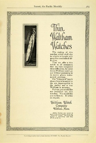1913 Ad Antique Thin Waltham Pocket Watches Massachusetts Jewelry Time Pieces - Original Print Ad