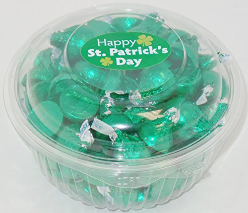 St. Patty's Day Kisses in Clear Bowl Container (1 pound)