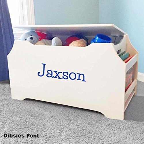 Personalized Toy Box (Personalized Dibsies Kids Toy Box with Book Storage - White For Boys)