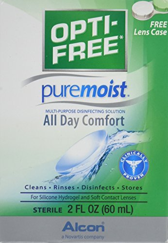 Lens Contact Solution Alcon (OPTI-FREE Pure Moist Multi-Purpose Disinfecting Solution, All Day Comfort 2 oz (Pack of 2))