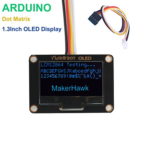 MakerHawk I2C OLED Display Module 1.30 Inch Dot-matrix LCD Display Module 128X64 Resolution Blue SSH1106 Driver Chip 5V with 20cm 4P PH2.0 DuPont Line for Arduino - Blue Dot Display