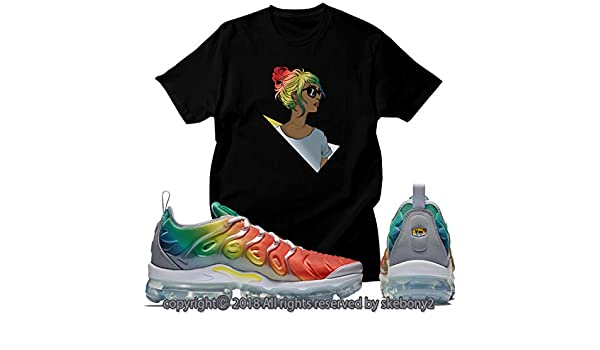 685dbee063225 Custom T Shirt Matching Nike AIR Vapormax Plus Rainbow AVP 1-46-2 at Amazon  Men s Clothing store