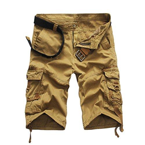 Price comparison product image vermers Mens Fashion Shorts Pants Casual Pocket Beach Work Casual Short Trouser (38,  Khaki)