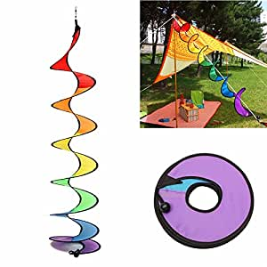 Plane & Parachute Toys - 110cm Rainbow Spiral Curlie Tail Windmill Colorful Wind Spinner Tent Garden Decoration - Rainbow Wind Spinner Spinners Outdoor Hanging Decor - Socks - 1PCs