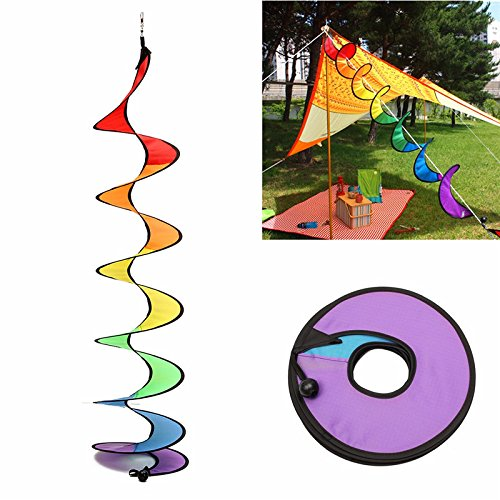 Double Helix Wind (Plane & Parachute Toys - 110cm Spiral Tail Windmill Colorful Wind Spinner Tent Garden Decoration - Curve Spinster Hoist Thread Maker Nothingness Farting Flatus Breaking - 1PCs)