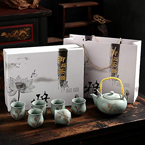 - Crack Ge Kiln Creative Ceramic Cup Set, China Handmade Simple Home Wedding Set Celadon, Tea Set/Coffee Cup/Gift Box/Teapot, 6 Cup Set