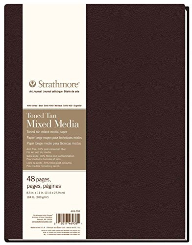 Strathmore (469-308 400 Series Hardbound Mixed Media Art Journal, 8.5''x11'', Toned Tan, 24 Sheets by Strathmore