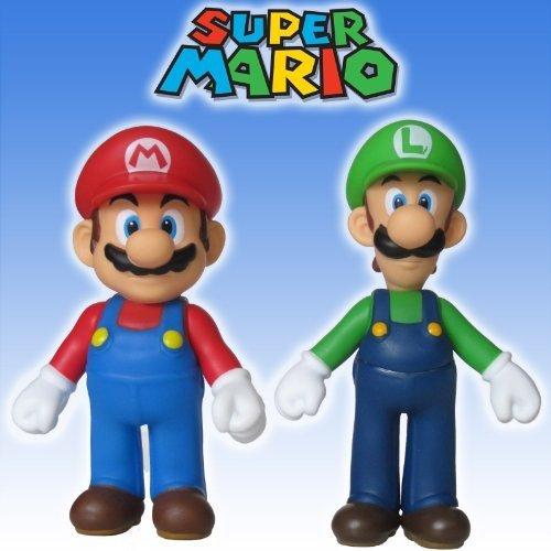 """Super Mario Brothers 5"""" MARIO & LUIGI ACTION FIGURE SET - by NINTENDO/BANPRESTO"""