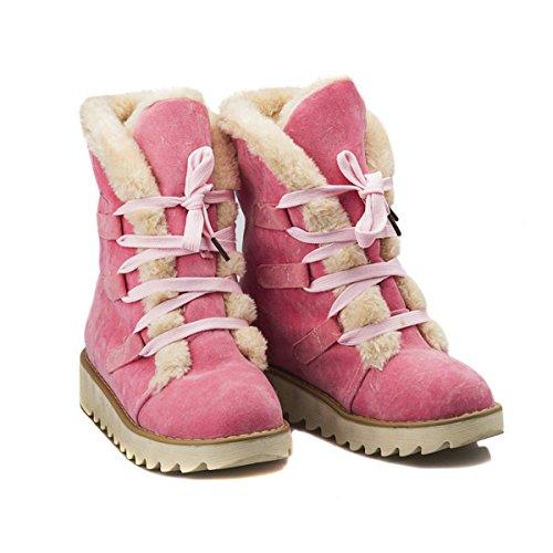 Homiki Damenstiefel Mehrfarbig Round Toe Flach HalbschaftStiefeletten Schlupfstiefel Plateauschuhe Wolle Schnürsenkel Pink