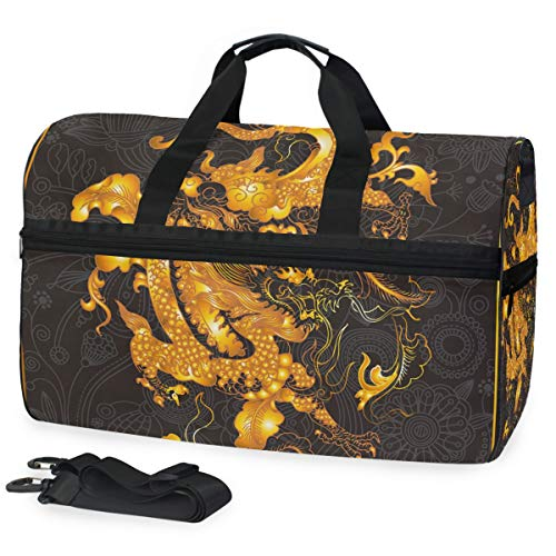 Red Dragon Shoulder Puppet - Chinese Dragon Travel Duffle Gym Fitness Bag with Shoes Compartment