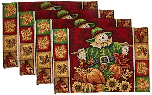 HomeCrate Fall Harvest Collection, Tapestry Scarecrow Pumpkins Autumn Leaves Design Set of 4 Placemats, 13