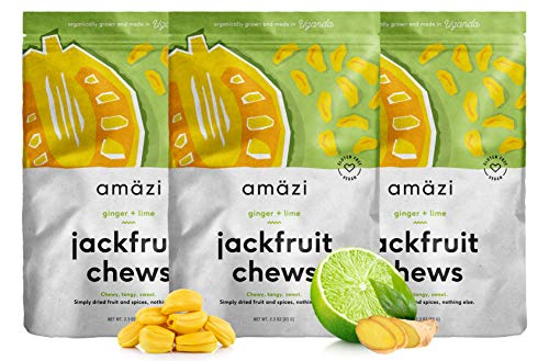Amazi Jackfruit Chews - Ginger Lime Dried Fruit Chews - Healthy Snacks Rich in Vitamins, Antioxidants & Anti-Inflammatory Benefits - Organically Grown, Vegan, Paleo-Friendly Fruit Snacks - 3 Pack