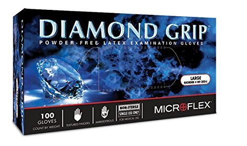 Microflex 5762C60CS Diamond Grip Latex Glove, Powder Free, 9.6'' Length, 6.3 mil Thick, Large (Pack of 1000) by Microflex