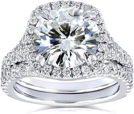 Kobelli Round H-I Moissanite Cushion Halo Bridal Wedding Set 4 CTW 14k White Gold