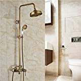 GOWE Luxury Wall Mount Brass & Ceramic Shower Mixer Taps Single Handle Rainfall Shower Faucet Set Antique Brass color:multi