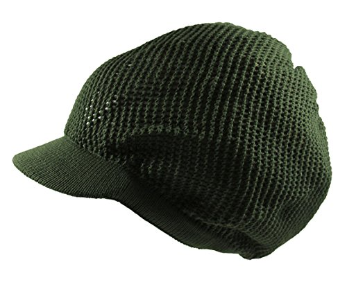 (RW 100% Cotton Mesh Rasta Light Weight Slouchy Beanie Visor (OLIVE GREEN))