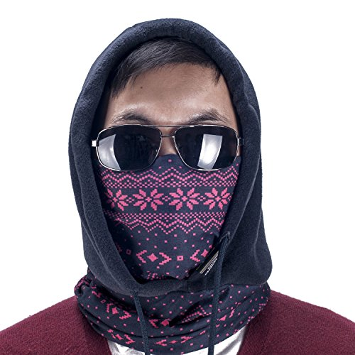 Weanas 4 in 1 Face Cover Hood Mask Balaclava Hat, Hood Veil Thermal Warm Wind Proof, Neck Warmers Face Mask and Fleece Hat, for Snowboard, Swat, Ski, Motorcycle, Winter Sports (European Pattern)