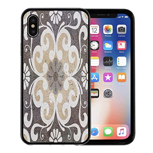Emvency Phone Case for Apple iPhone Xs case,Brown Stone Floor Tiles Porcelain Ceramic Geometric Pattern for and Marble Vintage for iPhone X Case,Rubber Border Protective Case,Black