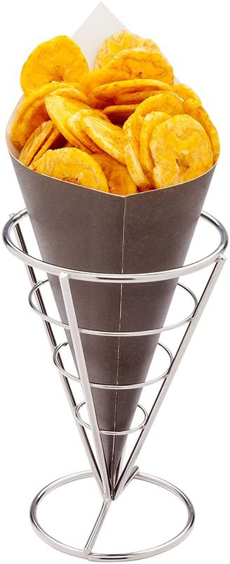 Conetek 10-Inch Eco-Friendly Black Finger Food Cones: Perfect for Appetizers - Food-Safe Paper Cone - Disposable and Recyclable - 100-CT - Restaurantware